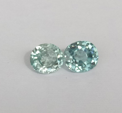 0.38 ct. Oval pair Natural Blue Zircon