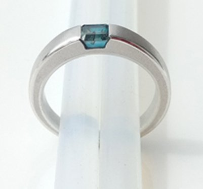 1.20 carat Octagon Blue Zircon 925 Silver Ring