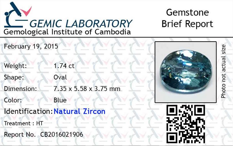 1.74 ct. Oval Natural Blue Zircon