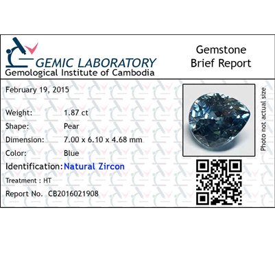 1.87 ct. Pear Natural Blue Zircon