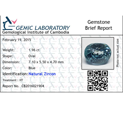 1.96 ct. Oval Natural Blue Zircon