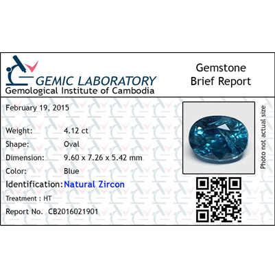 4.12 ct. Oval Natural Blue Zircon