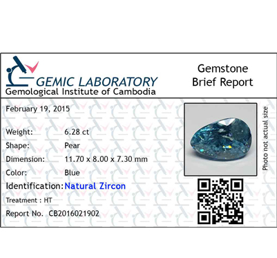 6.28 ct. Pear Natural Blue Zircon