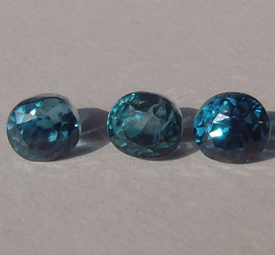 Natural Blue Zircon 3 stones 1.07-1.10-1.12 ct.