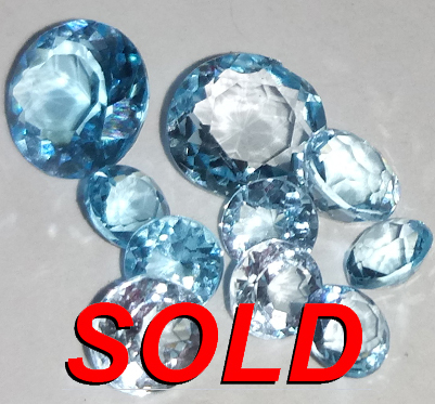 6.07 ct. Sky Blue Topaz Round and Oval 10 stones