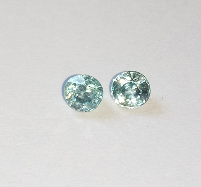 0.90 ct. Round pair Natural Blue Zircon